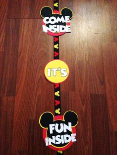 Red and Yellow Mickey Mouse Birthday Door Sign