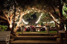 Wedding Venue Night Lights Flowers venue reception outside garden beautiful