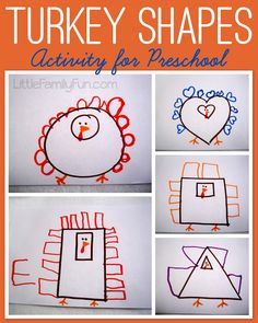 Thanksgiving activity for kids. Turkey shapes!