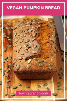 This vegan pumpkin bread is seriously the best ever! It's tender and moist and packed with fall flavors. It's also really easy to make using simple ingredients. #vegan #plantbased | lovingitvegan.com Vegan Brunch Recipes, Healthy Vegan Desserts, Delicious Vegan Recipes, Easy Desserts, Vegetarian Recipes, Vegan Pumpkin Bread, Finding Vegan, Plant Based Recipes, The Best