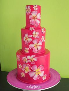 pink cake with plumerias