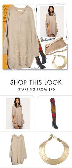 """The Oversized Sweater Dress"" by arethaman ❤ liked on Polyvore featuring GALA, ASOS, Burberry, Kelly Wearstler, Patrizia Pepe, sweaterdress, OverTheKneeBoots, holidaystyle, oversizeddress and holiday2015"