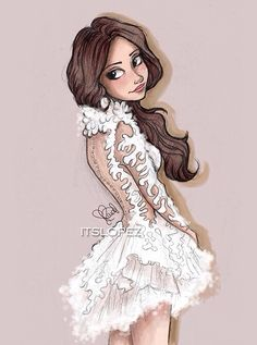 Selena in Marchesa 2014 - Drawing by itslopez Character Design Cartoon, Character Drawing, Love Drawings, Art Drawings, Hipster Drawings, Moda Fashion, Fashion Art, Fashion Sketches, Art Sketches