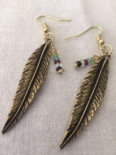 """Handcrafted Brass Feather & Garnet, Peridot, Amethyst, Citrine, Moonstone, Topaz , Spinel earrings """"Moonlit flight"""" by MoonBeamsJewels on Etsy"""