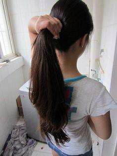 Long Hair Ponytail, Ponytail Hairstyles, Girl Hairstyles, Long Hair Cuts, Long Hair Styles, Long Indian Hair, Face Cut, Baby Girl Images, Hair Pulling
