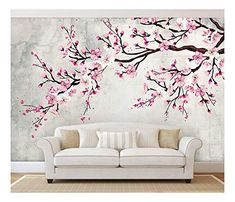 wall painting Large Wall Mural Watercolor Style Ink Painting Pink Cherry Blossom on Vintage Wall Background Vinyl Wallpaper Removable Wall Decor Wall Painting Decor, Ink Painting, Paint Decor, Interior Wall Paintings, House Wall Painting, Wall Painting Stencils, Decorative Wall Paintings, Painting Murals On Walls, Large Wall Paintings