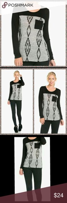 Long Sleeve, Pocket Tee/knit top Long sleeved tee/knit top. Black sleeves and front pocket tee. Gray blend with a bit of a geometric print pattern.  Brand new with tags/ never worn. Excellent condition!!  The material is 95% polyester and 5% spandex. Tops Tees - Long Sleeve