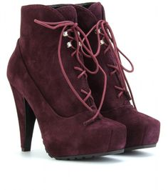 Keep Warm in Red Suede Laceup Platform Ankle Boots