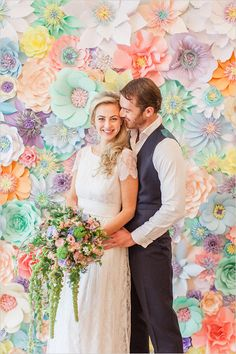 Roberta Facchini via wedding chicks pastel tea party wedding ideas flower backdrop