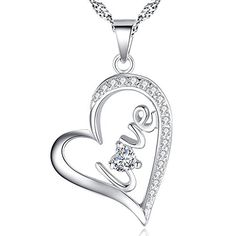Diamond Love Open Heart Necklace April Birthstone White Charm Script Love Word Pendant Necklace *** Check out this great product.Note:It is affiliate link to Amazon.