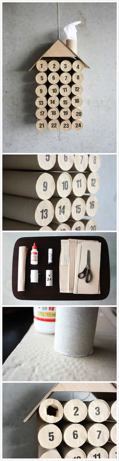 10 Christmas crafts projects made out of toilet paper rolls in diy cardboard  with Toilet Paper Roll DIY Craft Christmas Advent