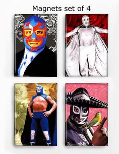 Items similar to Set of 4 Magnets Mexican Wrestlers on Etsy Mexican Wrestler, Three Little Birds, Mermaid Tattoos, Happy Shopping, Original Artwork, Magnets, Great Gifts, Wrestling Wwe, Quote