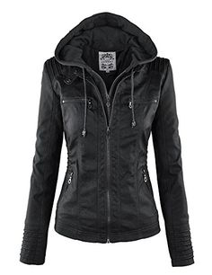 LL WJC663 Womens Removable Hoodie Motorcyle Jacket L BLAC…
