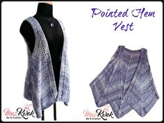 Pointed Hem Vest ~ Crochet Stylish.  Modern.  Fun.   This stunning vest is what every wardrobe needs to add that little bit of flair to your outfit.   Size Large; free on the blog.  Ad free PDF available for purchase with other sizes. Remember to share to your timeline, and tag your crafty friends,  http://beacrafter.com/crochet-pointed-hem-vest/