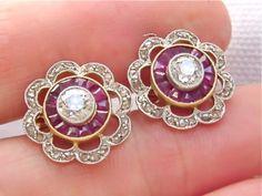 1920s Antique Ruby Stud Earrings