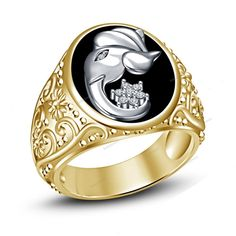 7 To 14 Two-Tone Plated Black Enamel God Ganesha Men's Ring Simulated Diamond…