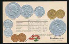 Österreich   Austria  Ansichtskarte  Prägekarte  Münzen   Silber + Gold  Krone