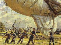 A Balloon Site, Coventry, 1943 by Dame Laura Knight (RA). Women from the Auxiliary Territorial Service work the mooring ropes on a barrage balloon. Image  courtesy of the Imperial War Museum