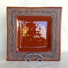 Square Serving Platter  Slab Formed  Handmade  by KittingerClay
