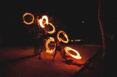 Fire dancers at reception