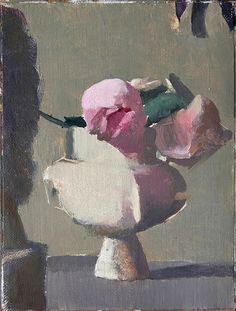 peinture : Yaela Scalia, bouquet de fleurs dans un vase, gris