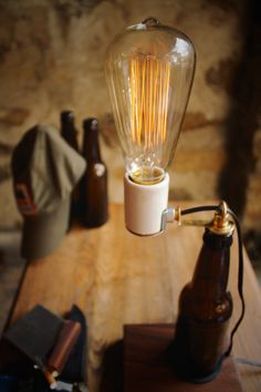 Awesome Amazing Beer Table Lamp  #Beer #Bottle #DIY #Edison #Handmade #LightBulb #Metal #Recycled #Rustic #Steampunk #Vintage        How to make beer a business expense? That's how, after many prototypes, this lamp was born. You can choose the beer you want for your t...