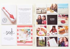 Two photos per page with 2 journal cards/filler cards.  Adorable 2x2 pockets for event.  Via One Little Bird