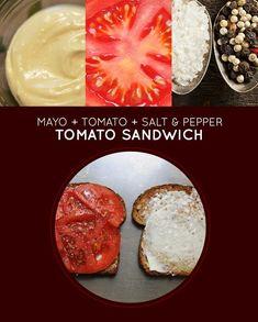 Maionese, tomate, sal e pimenta