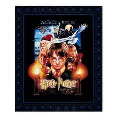 """From Warner Brothers Studios and licensed to Camelot Fabrics, this cotton print panel measures 36"""" x 44"""" and feature the movie poster from the first Harry Potter movie! Whether you're a Gryffindor, Ravenclaw, Hufflepuff, or Slytherin, you're sure to love it. Perfect for quilting, apparel, and home decor accents. Colors include black, blue, orange, yellow, grey, white, red, and brown."""