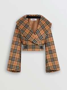 Vintage Check Alpaca Wool Hugger Jacket in Antique Yellow - Women   Burberry United States