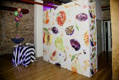 """<p> To serve fresh fruit, Chicago catering firm <a href=""""http://www.bizbash.com/limelight-catering/chicago/listing/825993"""">Limelight</a> inserts skewers into a decorative wall featuring colorful wallpaper that..."""
