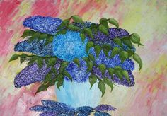 Abstract Lilac Bouquet - Oil Painting