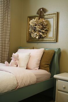 Painted sleigh bed.