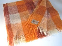 Vintage Mohair Blanket  Plaid Blanket  Scottish Mohair by WaveSong