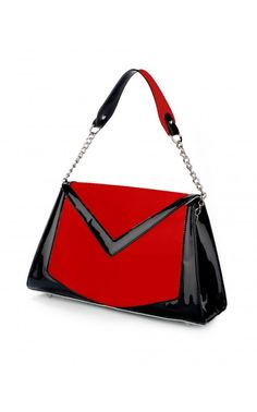 Pinup Couture- Chevron Purse in Patent Red Vinyl with Black Trim | Pinup Girl Clothing
