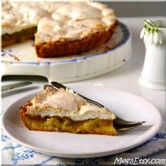 Rhubarb Meringue Pie - A light and airy spring dessert with just the right amount of rhubarb!