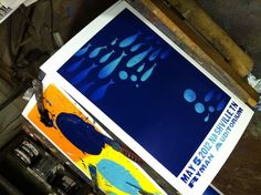 Second colour pressure printed over the split fountain. #countingcrows #hatchshowprint #letterpress #wip