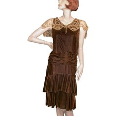 1920's Silk Chiffon Velvet Brown Dress Tape Lace Collar from giddy on Ruby Lane