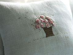 'Rose Basket' Hand embroidered lavender cushion | Caroline Zoob