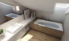 AGATA HANN ARCHITEKTURA WNĘTRZ SŁUPSK : PROJEKTOWANIE WNĘTRZ SŁUPSK Bathroom Tub Shower, Loft Bathroom, Dream Bathrooms, Bathroom Interior, Modern Bathroom, Interior Design Living Room, Small Bathroom, Loft Room, Attic Design