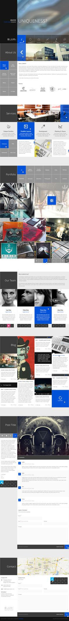 BLURI Single Page Template by entiri , via Behance