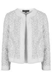 TOPSHOP 2015 Sequin Embellished Jacket   This jacket has the very simple cut of Channels Jackets yet it's modernising to attract younger outgoing personalities