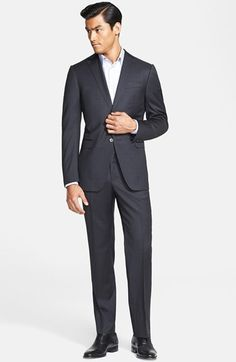 Free shipping and returns on Z Zegna Trim Fit Plaid Wool Suit at Nordstrom.com. Shadowy midnight plaid lends the faintest whisper of visual texture to an impeccably tailored two-button suit cut from smooth wool. The dashing notch-lapel jacket and sharply creased flat-front trousers create a polished, commanding image that looks smashing in the office and beyond.