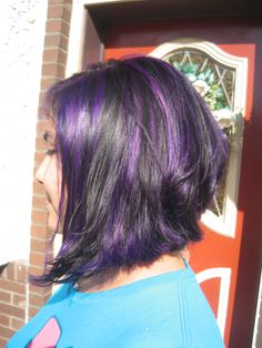Purple Lowlights done by edwards hairstyling 856-845-2245