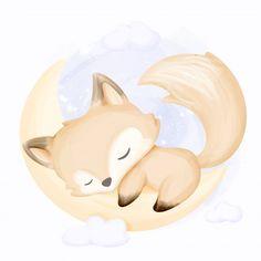 Raposa pequena dormir na lua Vetor Premi. Cute Fox Drawing, Cute Animal Drawings, Cute Drawings, Fuchs Illustration, Cute Illustration, Fox Nursery, Nursery Art, Doodles Bonitos, Art Fox