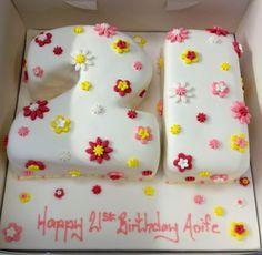 21st flowers cake