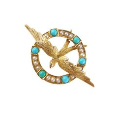 Antique Swallow Brooch Victorian Turquoise by ProvenanceJewellery
