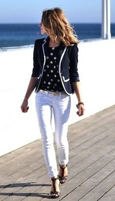 Banana Blue Blazer, white jeans