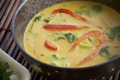 Raw Vegan Coconut Curry Soup Recipe by @Sunil Mehra Glowing With Health -Christine Roseberry - this looks a sensational warming soup for a chilly evening, especially if you can warm it up a bit in the dehydrator.