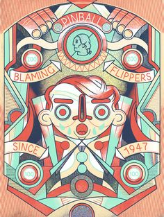 1947  Pinball Print FOIL EDITION by LukeDrozd on Etsy